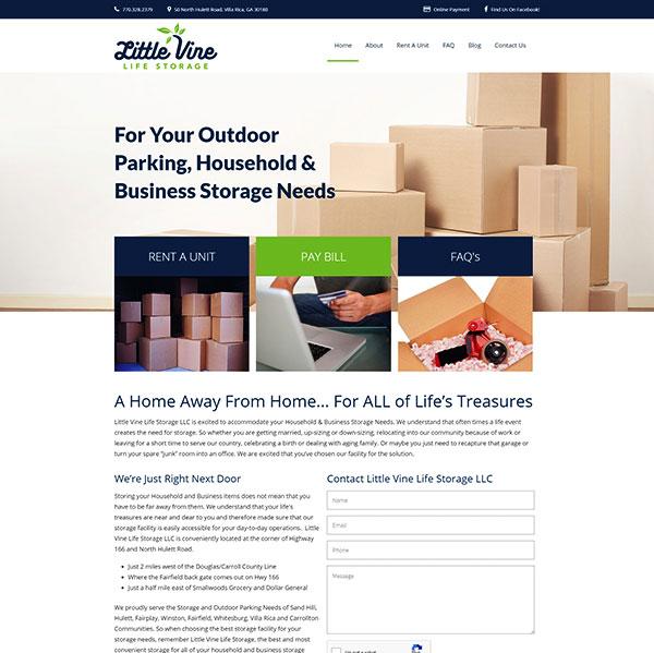 A screenshot of the Little Vine Life Storage website.